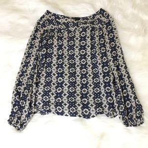 Lucky Brand Tan & Blue Boho Print Blouse!